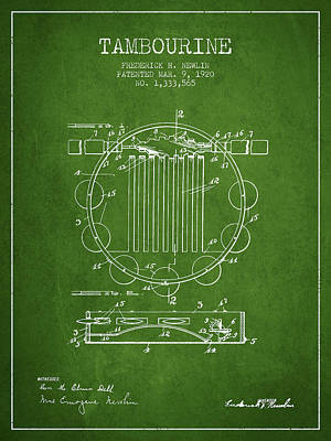 Tambourine Musical Instrument Patent From 1920 - Green Poster by Aged Pixel