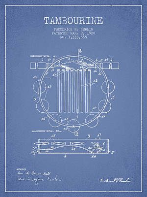 Tambourine Musical Instrument Patent From 1920 - Light Blue Poster by Aged Pixel