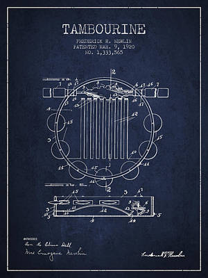 Tambourine Musical Instrument Patent From 1920 - Navy Blue Poster by Aged Pixel