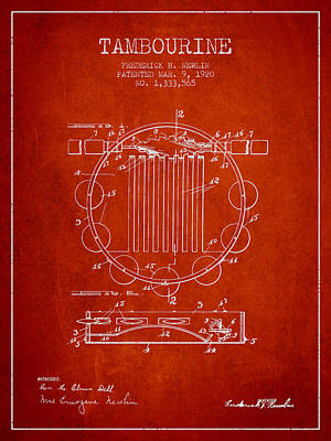 Tambourine Musical Instrument Patent From 1920 - Red Poster by Aged Pixel