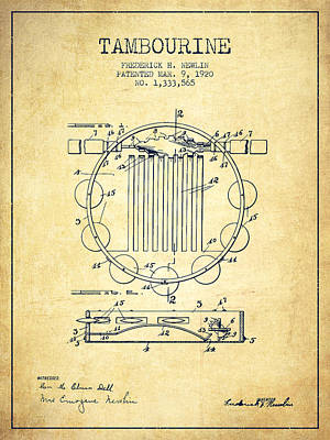 Tambourine Musical Instrument Patent From 1920 - Vintage Poster by Aged Pixel