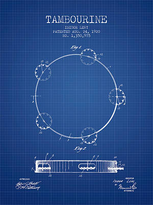 Tambourine Patent From 1920 - Blueprint Poster by Aged Pixel