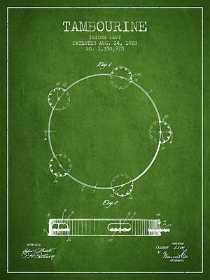 Tambourine Patent From 1920 - Green Poster by Aged Pixel