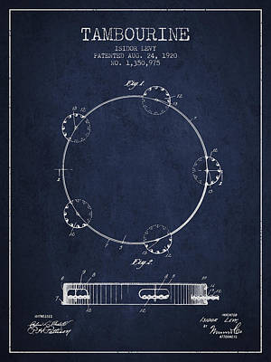 Tambourine Patent From 1920 - Navy Blue Poster by Aged Pixel