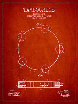 Tambourine Patent From 1920 - Red Poster by Aged Pixel