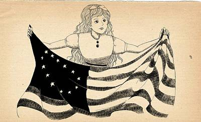 Poster featuring the drawing Tammy And The Flag by Reynold Jay
