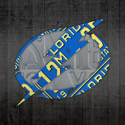 Tampa Bay Lightning Retro Hockey Team Logo Recycled Florida License Plate Art Poster by Design Turnpike