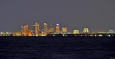 Tampa City Skyline At Night 7 November 2012 Poster by Jeff at JSJ Photography