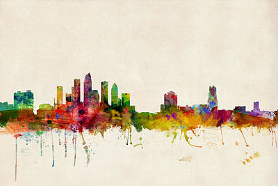 Tampa Florida Skyline Poster by Michael Tompsett