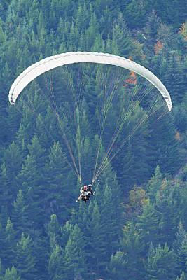 Tandem Paraglider In Flight Poster