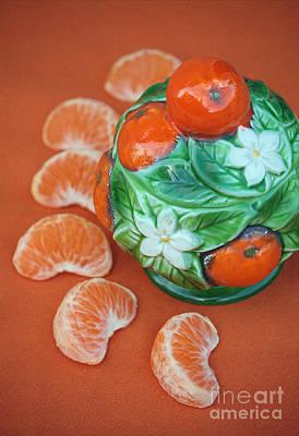 Tangerine Slices And Ceramics Poster