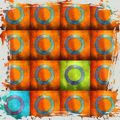Tangerine Squares Poster by Bonnie Bruno