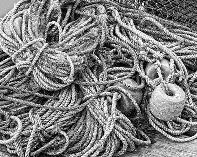 Tangled Rope And Lobster Fishing Gear On Dock Maine Poster by Keith Webber Jr
