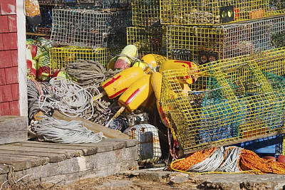 Tangled Rope And Lobster Traps On Dock In Maine Poster by Keith Webber Jr