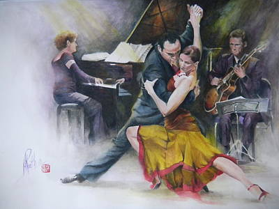 Poster featuring the painting Tango by Alan Kirkland-Roath