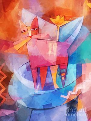 Tango Cat Cubic Poster by Lutz Baar