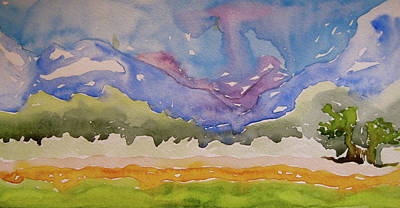Poster featuring the painting Taos Fields by Beverley Harper Tinsley