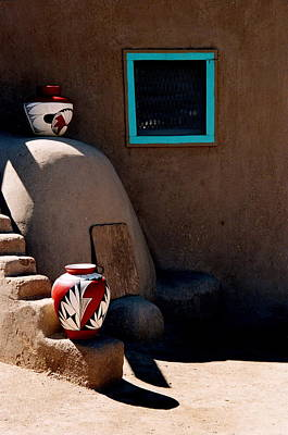Poster featuring the photograph Taos New Mexico Pottery by Jacqueline M Lewis