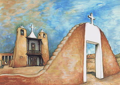 Taos Pueblo New Mexico - Watercolor Art Poster