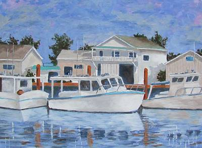 Poster featuring the painting Tarpon Springs Boats Iv by Tony Caviston