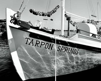 Tarpon Springs Spongeboat Black And White Poster by Benjamin Yeager