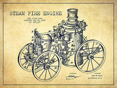 Tarr Steam Fire Engine Patent Drawing From 1896 - Vintage Poster by Aged Pixel