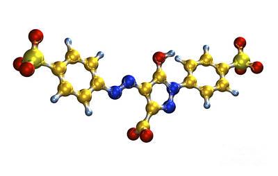 Tartrazine Food Coloring Molecule Poster by Dr. Mark J. Winter