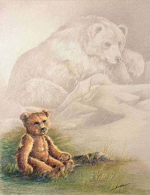 Poster featuring the drawing Tattered Bear by Judi Quelland