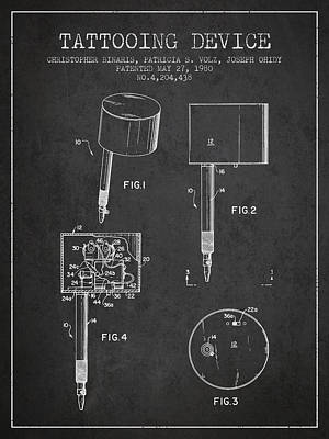 Tattooing Device Patent From 1980 - Charcoal Poster by Aged Pixel