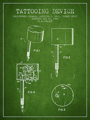 Tattooing Device Patent From 1980 - Green Poster by Aged Pixel