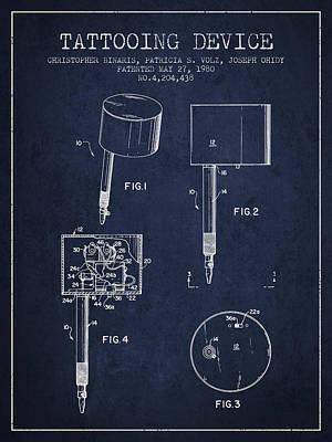 Tattooing Device Patent From 1980 - Navy Blue Poster by Aged Pixel