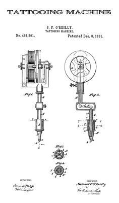 Tattooing Machine Patent Art  1891 Poster by Daniel Hagerman