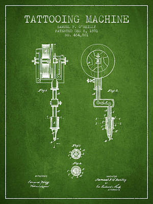 Tattooing Machine Patent From 1891 - Green Poster