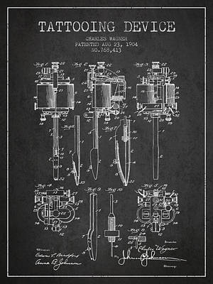 Tattooing Machine Patent From 1904 - Charcoal Poster by Aged Pixel