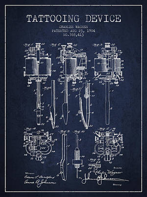 Tattooing Machine Patent From 1904 - Navy Blue Poster by Aged Pixel