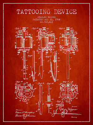 Tattooing Machine Patent From 1904 - Red Poster by Aged Pixel