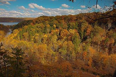 Taughannock River Canyon In Colorful Fall Ithaca New York II Poster by Paul Ge