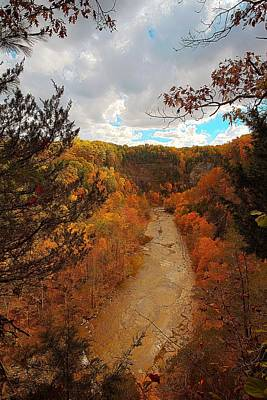 Poster featuring the painting Taughannock River Canyon In Colorful Fall Ithaca New York IIi by Paul Ge