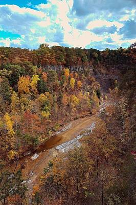 Poster featuring the painting Taughannock River Canyon In Colorful Fall Ithaca New York V by Paul Ge