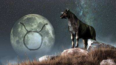 Taurus Zodiac Symbol Poster by Daniel Eskridge