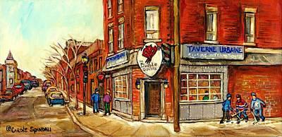 Taverne Urbaine Le Diable A Quatre Bistro Brasserie Bar Psc Montreal Winterscene Painting Cspandau Poster by Carole Spandau