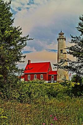 Tawas Point Light Retro Mode Poster by Daniel Thompson