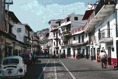 Taxco Street Scene Poster by Dody Rogers
