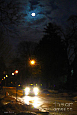 Poster featuring the photograph Taxi In Full Moon by Nina Silver