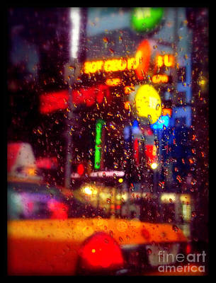 Taxi In The Rain - The Lights Of New York Poster by Miriam Danar