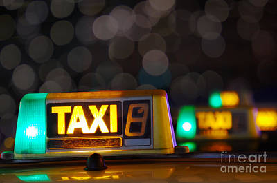 Taxi Signs Poster by Carlos Caetano