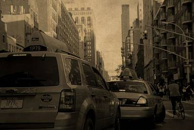 Taxi Traffic Jam In New York City Poster