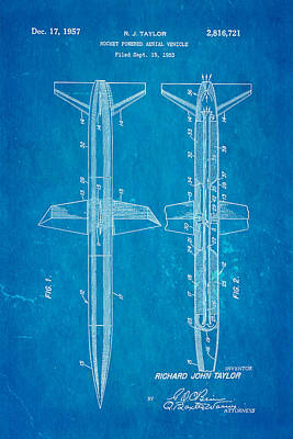 Taylor Rocket Engine Patent Art 1957 Blueprint Poster by Ian Monk