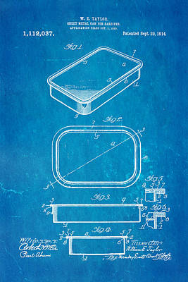 Taylor Sardine Can Patent Art 1914 Blueprint Poster by Ian Monk