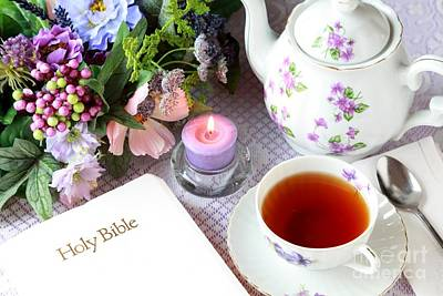 Tea And Scripture Poster by Pattie Calfy